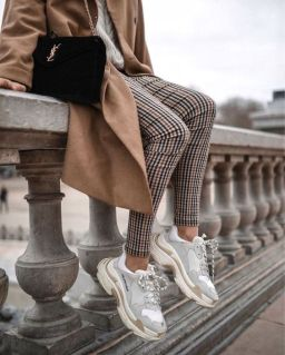 camel coat chunky sneaker